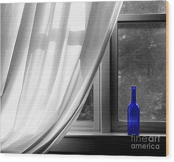 Blue Bottle Wood Print by Diane Diederich