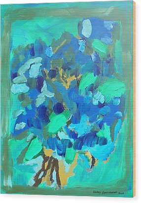 Blue Bouquet Wood Print by Harry Hartshorne Jr