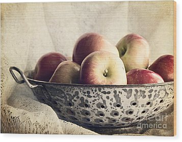 Blue Bowl Of Apples Wood Print