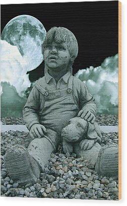 Wood Print featuring the photograph Blue Boy By The The Blue Moon by Allen Beilschmidt