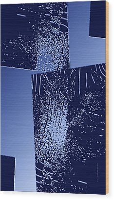Blue Breaking Wood Print by Mario Perez