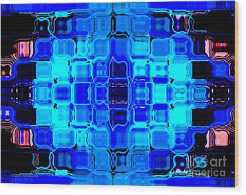 Wood Print featuring the digital art Blue Bubble Glass by Anita Lewis