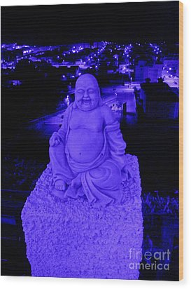 Blue Buddha And The Blue City Wood Print