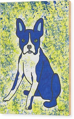 Blue Bulldog Wood Print