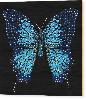 Blue Butterfly Black Background Wood Print by R  Allen Swezey
