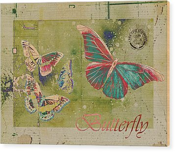 Blue Butterfly Etc - S55ct01 Wood Print by Variance Collections