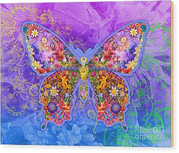 Blue Butterfly Floral Wood Print by Alixandra Mullins