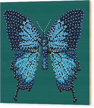 Blue Butterfly Green Background Wood Print by R  Allen Swezey