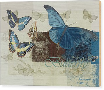 Blue Butterfly - J152164152-01 Wood Print by Variance Collections