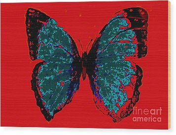 Wood Print featuring the digital art Blue Butterfly  by Jasna Gopic