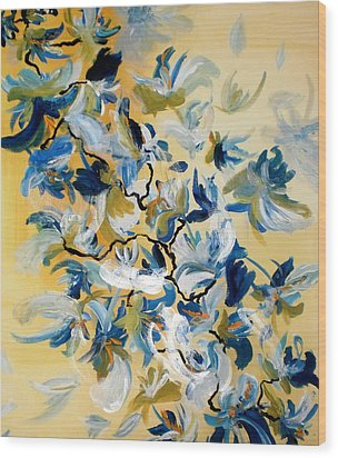 Blue Butterfly Painting Wood Print by France Laliberte