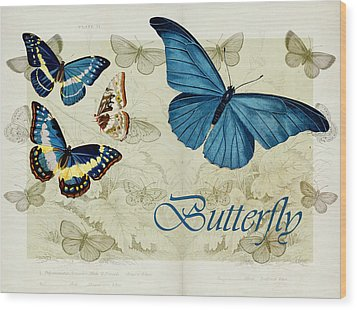 Blue Butterfly - S01a Wood Print by Variance Collections