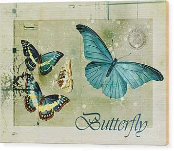 Blue Butterfly - S55c01 Wood Print by Variance Collections