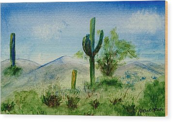 Blue Cactus Wood Print by Jamie Frier