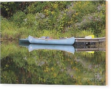 Blue Canoe Wood Print by Deborah Benoit