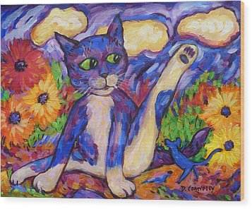 Wood Print featuring the painting Blue Cat Among Daisies by Dianne  Connolly