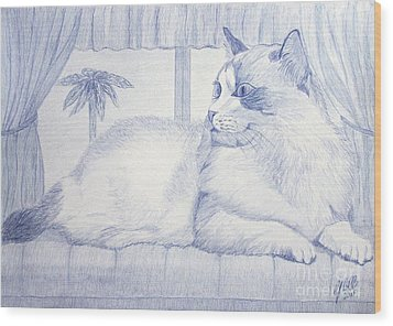 Blue Cat Wood Print by Cybele Chaves