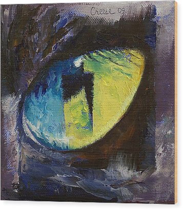 Blue Cat Eye Wood Print by Michael Creese