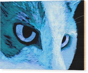 Blue Cat Face Wood Print by Ann Powell