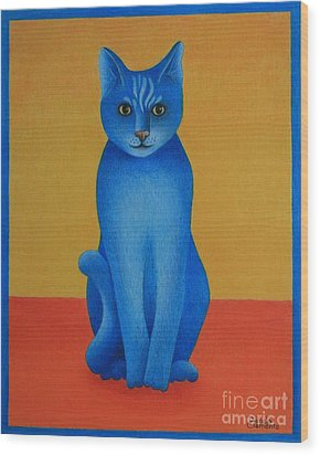 Blue Cat Wood Print by Pamela Clements