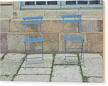 Blue Chairs 1 Stockholm Sweden Wood Print by Marianne Campolongo