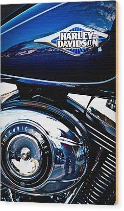 Blue Chopper Wood Print by David Patterson