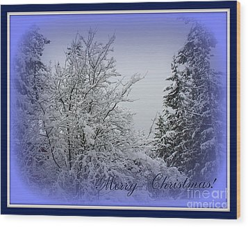 Blue Christmas Wood Print by Leone Lund