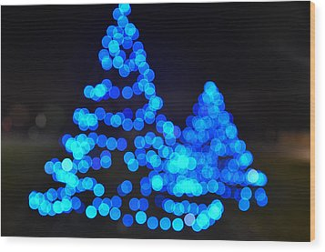 Blue Christmas Wood Print by Steve Myrick