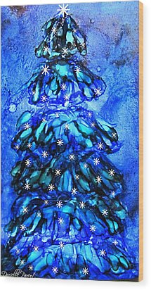 Blue Christmas Tree Alcohol Inks  Wood Print by Danielle  Parent