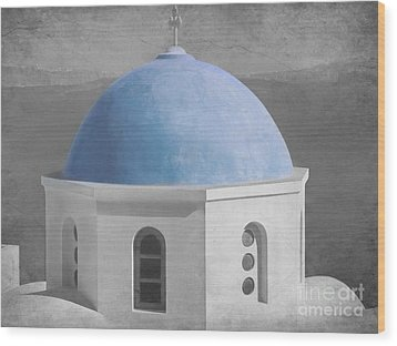 Blue Church Dome Wood Print by Sophie Vigneault