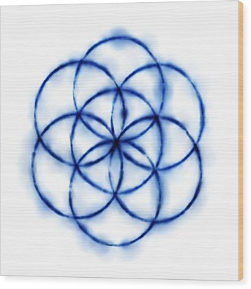 Blue Circle Abstract Wood Print by Tom Druin