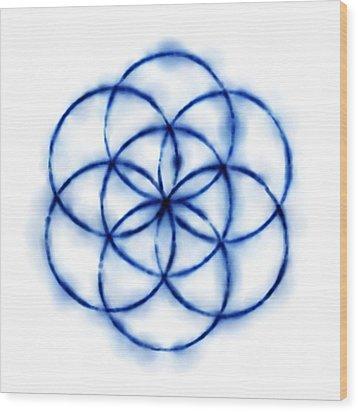 Blue Circle Abstract Wood Print