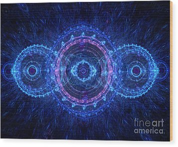 Blue Circle Fractal Wood Print by Martin Capek