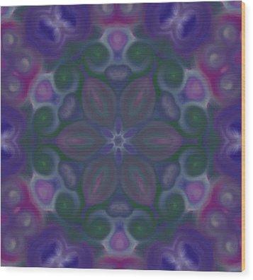 Blue Circle Mandala Wood Print by Karen Buford
