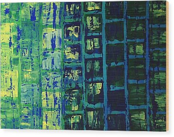 Wood Print featuring the painting Blue City 2 by Linda Bailey