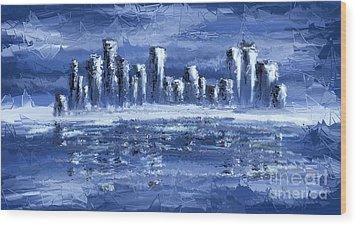 Blue City Wood Print by Svetlana Sewell