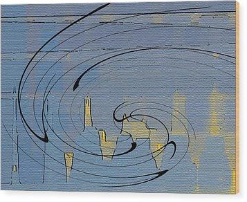 Blue Cityscape Wood Print by Ben and Raisa Gertsberg