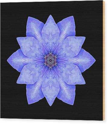 Blue Clematis Flower Mandala Wood Print