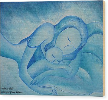 Blue Co Sleeping Wood Print