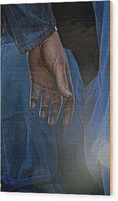 Blue Collar Wood Print by Odd Jeppesen