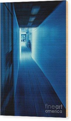 Blue Corridor Wood Print by Craig B
