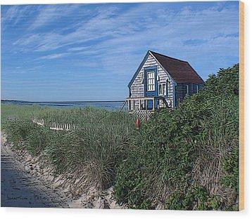 Blue Cottage Cape Cod Wood Print by Samuel H Close