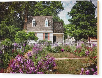 Blue Cottage Wood Print by Shari Nees