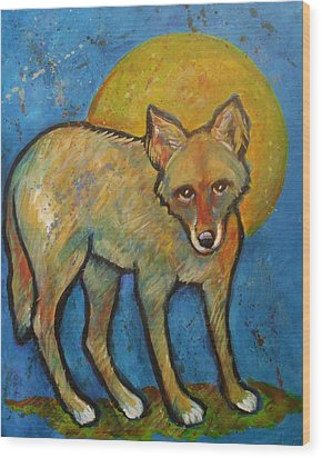 Blue Coyote And The Full Moon Wood Print