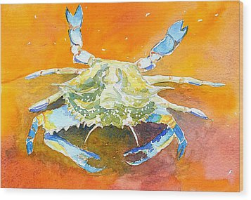 Blue Crab Wood Print by Anne Marie Brown
