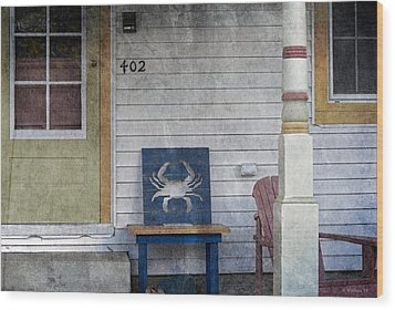 Blue Crab Chair Wood Print by Brian Wallace