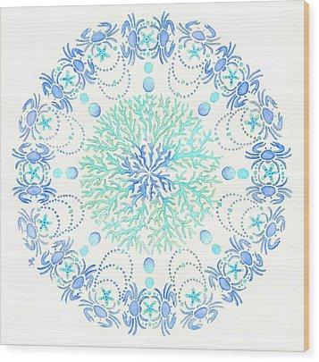 Blue Crab Mandala 5 Wood Print