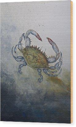 Blue Crab Print Wood Print by Nancy Gorr
