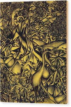 Blue Cranes Wood Print by Zachary Worth