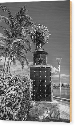 Blue Crown Statue Miami Downtown - Black And White Wood Print by Ian Monk